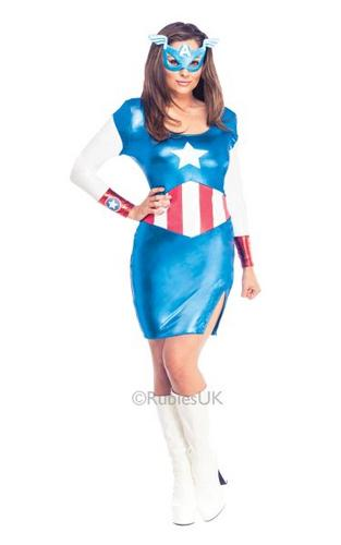 Captain America Womens Costume DC comics Marvel Superhero Fancy Dress outfit Thumbnail 1