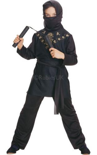 Kids Black Ninja Fancy Dress Costume Thumbnail 1