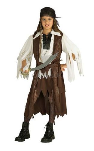 Girls Caribbean Pirate Queen Fancy Dress Costume Thumbnail 1