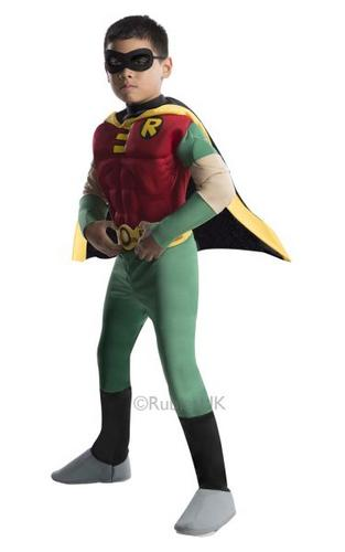 Kids T Titans Deluxe Muscle Chest Robin Fancy Dress Costume Thumbnail 1