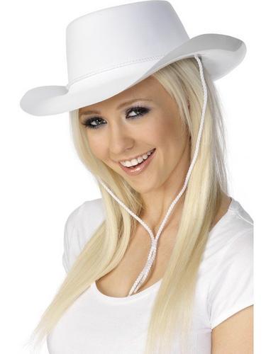 White Flock Cowboy Fancy Dress Hat Thumbnail 2