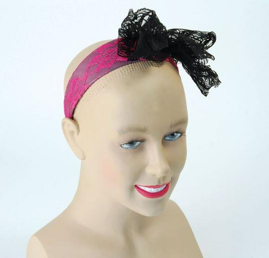 80s Neon Lace Headband. Pink Thumbnail 1