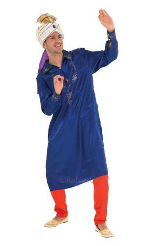 Bollywood Man Fancy Dress Costume Blue Thumbnail 1