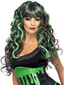 Blood Drip Siren Fancy Dress Wig Black and Green