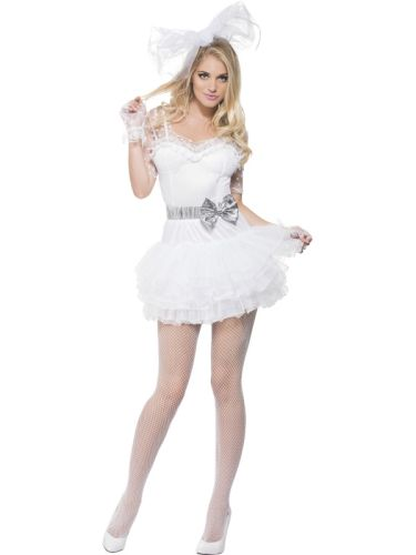 Adult Sexy Fever 80s Madonna Like A Virgin Ladies Fancy Dress Hen
