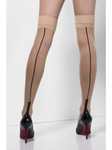 Nude Hold Ups With  Black Seam and Cuban Heel