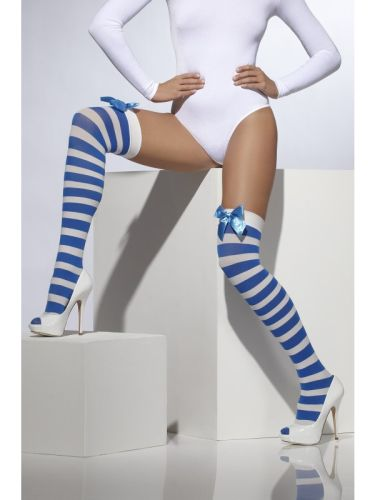 Opaque Hold Ups Blue and White Stirped with blue Bow