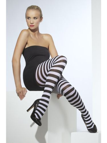 Opaque Tights black and White Striped