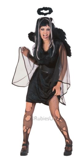 Adult Sexy Black Fallen Angel Ladies Halloween Party Fancy Dress Costume Outfit Thumbnail 1