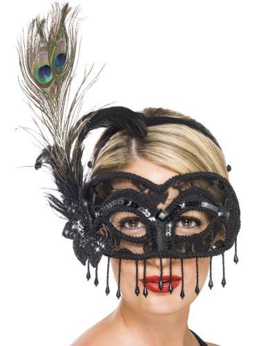 Colombina Lace Eye Mask, on a Headband Thumbnail 1