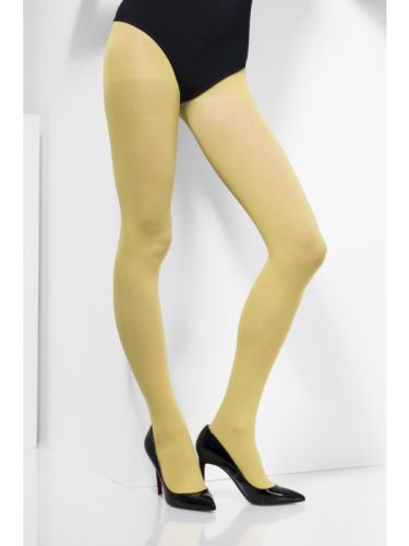 Womens Opaque Tights Yellow  Thumbnail 1