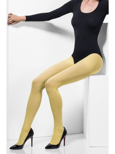 Womens Opaque Tights Yellow  Thumbnail 2