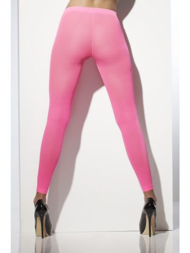 Opaque Footless Tights Neon Pink Thumbnail 1