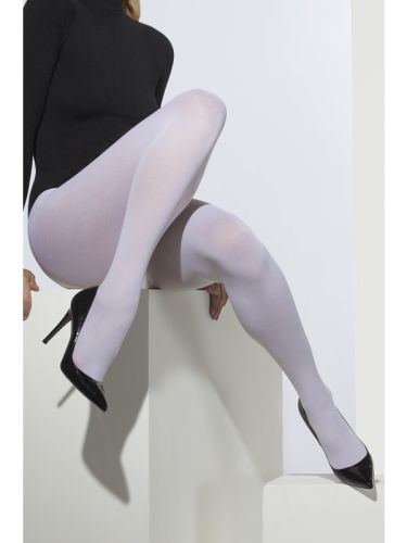 Womens Opaque Tights White  Thumbnail 1