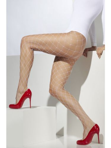 Diamond Net Tights White Thumbnail 1