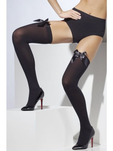 Opaque Hold Ups Black with Black Bow Thumbnail 1