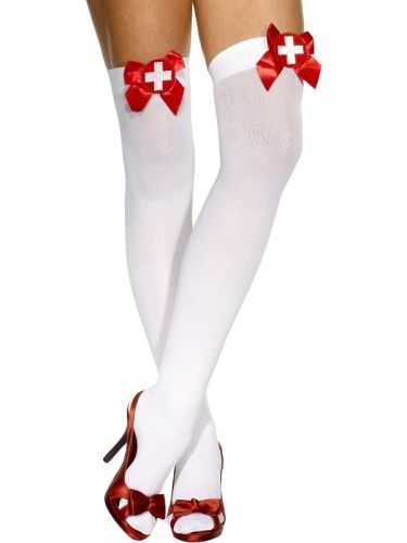Opaque Hold Ups White with Red bow and Cross Thumbnail 1