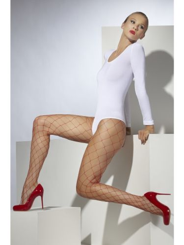 Diamond Net Tights Red