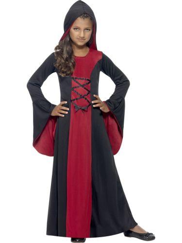 Girls Hooded Vamp Robe Costume Thumbnail 1