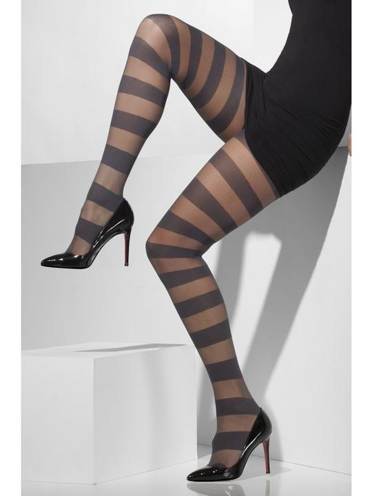 Womens Sheer Grey With Horizontal Stripes Tights  Thumbnail 1