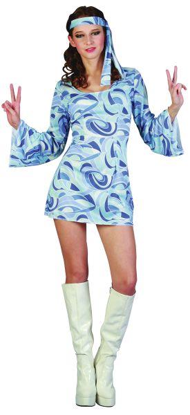 Ladies Blue flower Power Hippie Girl Dress