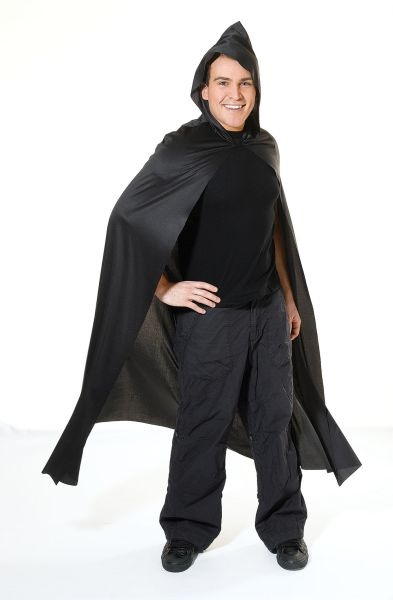 Adult Long Hooded Black Cape