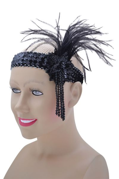Black Sequin Flapper Headdress