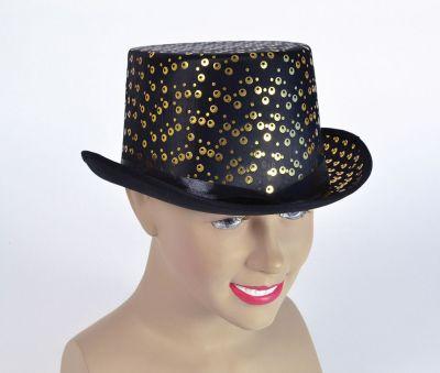 Top Hat. Black/Gold Pattern