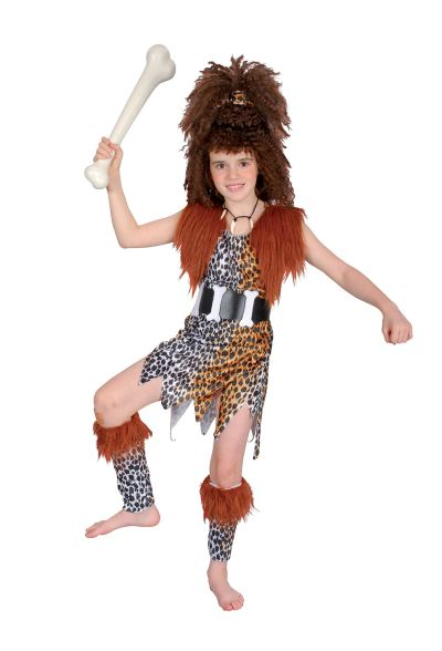 Childs Cavegirl Costume and Wig