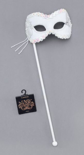 White Velvet Mask On Stick