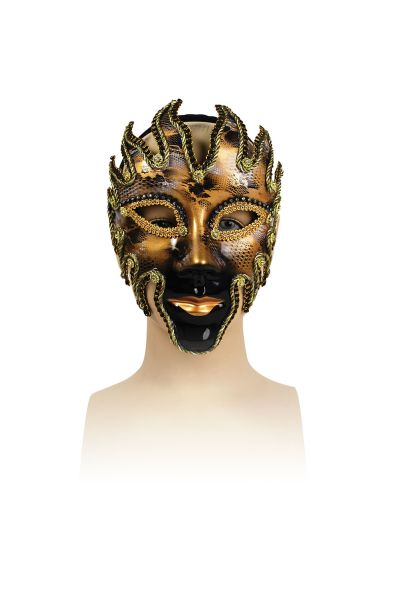 Glazed Full Face Mask. Blackand Gold