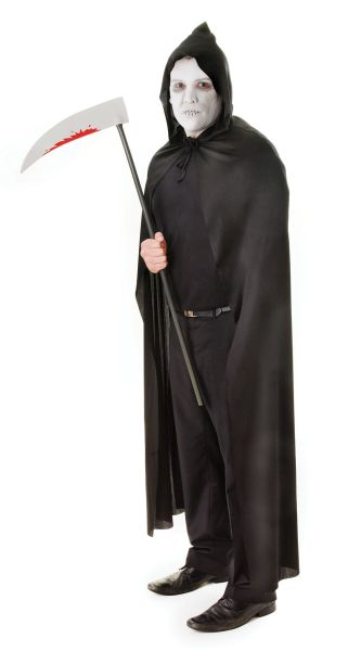 Adult Hooded Cape Black Thumbnail 1