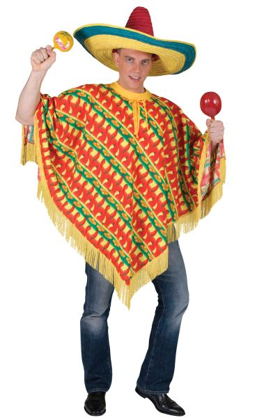 Adult Poncho Chilli Print Costume Thumbnail 1