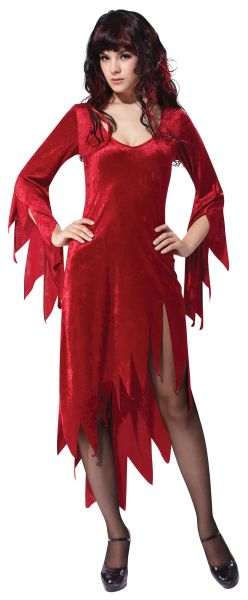 Adult Red Vampire Siren Dress Ladies Halloween Party Fancy Dress Costume Outfit Thumbnail 1