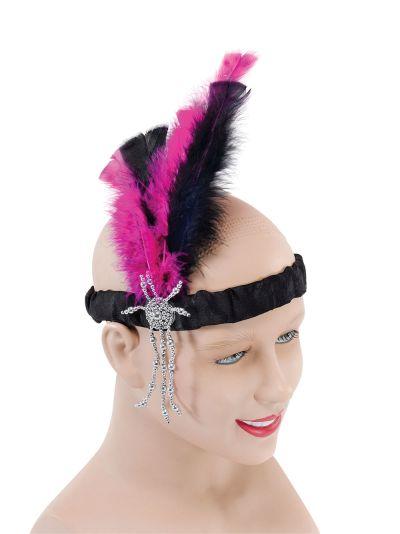 Flapper Headband. Pink Thumbnail 1
