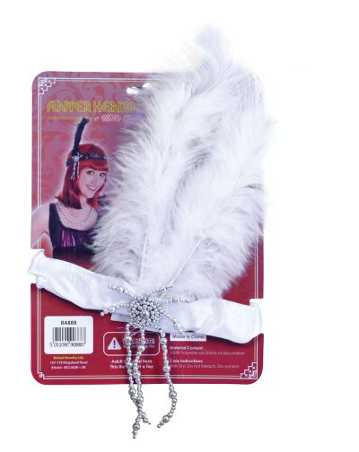 Flapper Headband & White Feathers Thumbnail 1