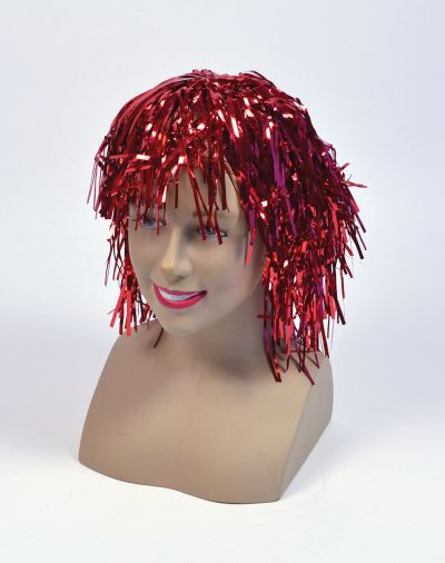 Tinsel Wig.  Red Thumbnail 1