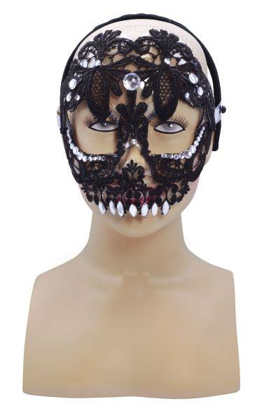 Black Lace Sugar skull Mask  Thumbnail 1