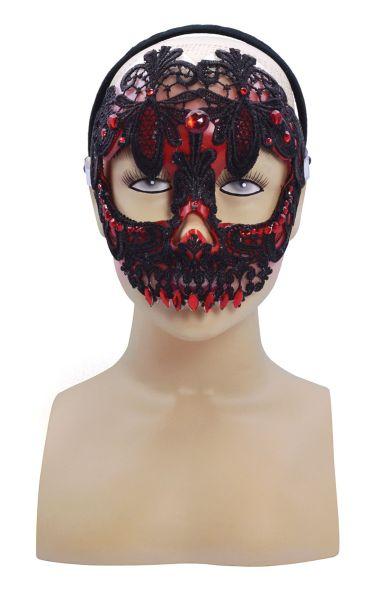 Red And Black Lace Sugar Skull Mask  Thumbnail 1
