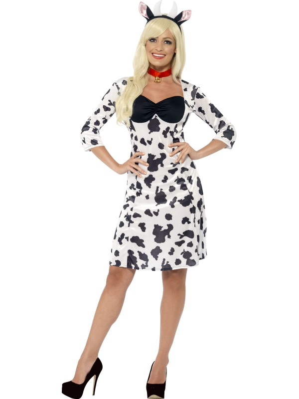 Cow Costume Ladies Black And White Funny Animal Fancy Dress Party Outfit NEW!