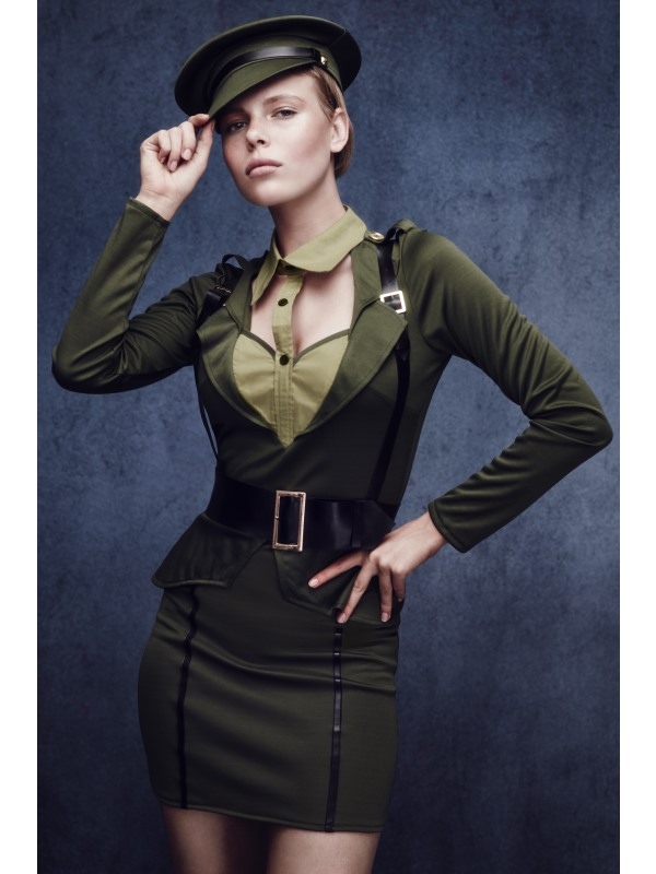 Sexy Fever Army Captain Uniform Ladies Fancy Dress Costume Hen Party Outfit