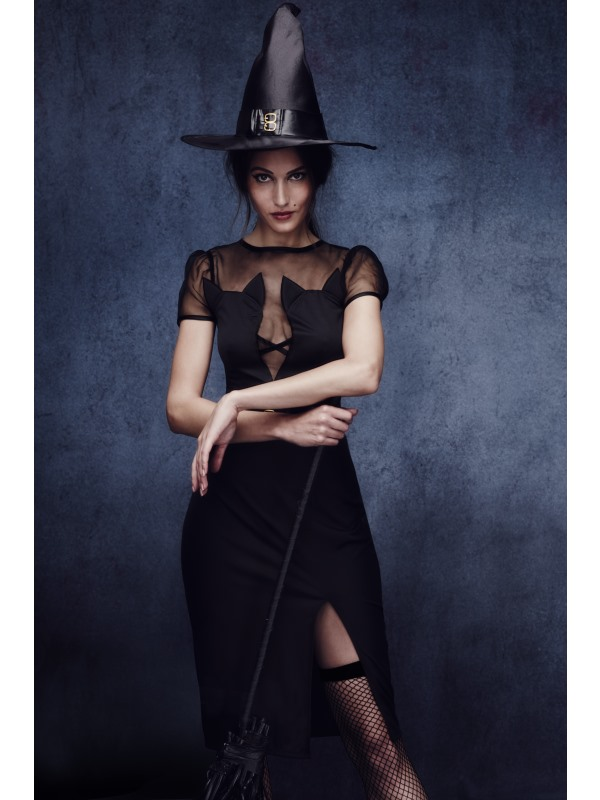 Adult Sexy Fever Enchanting Black Cat Witch Ladies Halloween Fancy Dress Costume