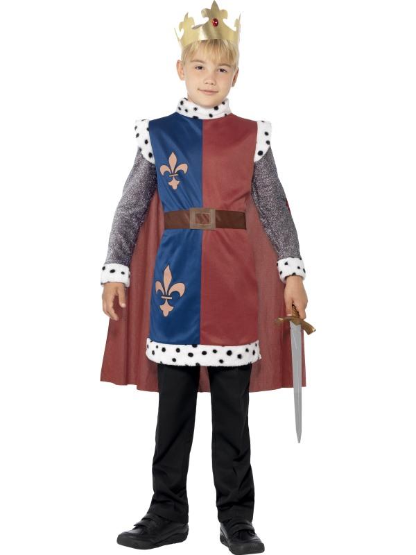 Kids Medieval Royal King Arthur Tunic Boys Book Week Fancy Dress Childs Costume