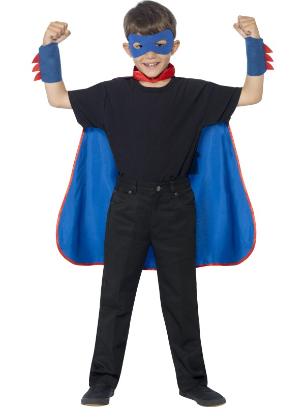 SALE! Childrens Superhero Fancy Dress Kit Blue Cape & Blue Mask Childs Cloak