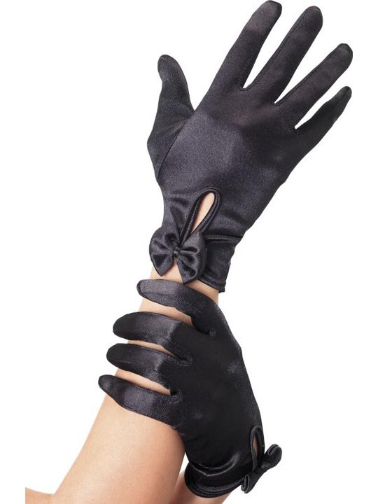 Black short Gloves with Bow Thumbnail 1