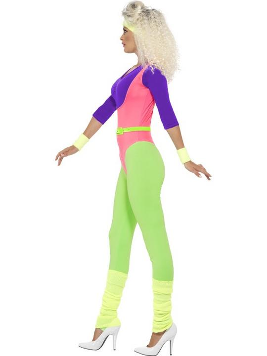 Adult 80's Let's Get Physical Work Leotard Out Ladies Fancy Dress Costume Outfit Thumbnail 2