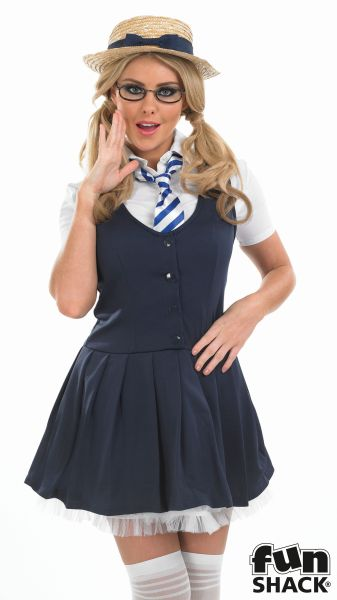 Sexy School Girl Tutu Ladies Fancy Dress Costume Hen Party Outfit UK Size 8