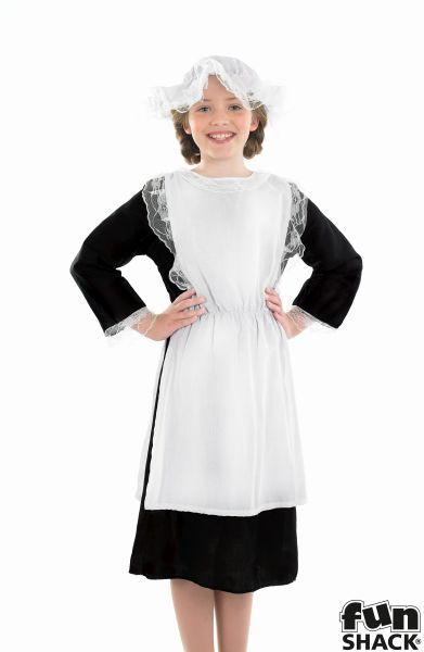 Girls Book Week Victorian Maid Costume Kids Fancy Dress Outfit