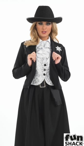 Women's Old Time Female Sherif Fancy Dress Costume