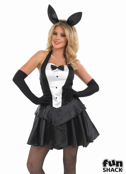 Deluxe Sexy Bunny Hostess Ladies Fancy Dress Costume Hen Party Outfit Size 8-26